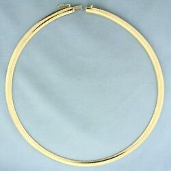 Italian Made 18 Inch Omega Necklace In 14k Yellow Gold