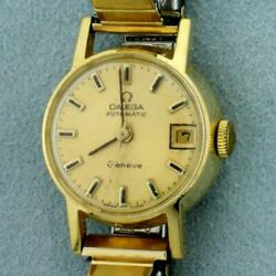 Womens Vintage Omega Geneve Watch With Solid 18k Yellow