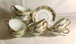 8 W.m. Guerin Limoges France Birds Of Paradise Cups And Saucers