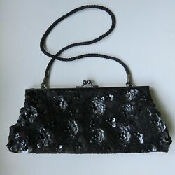 Black Sequined amp; Beaded Lancome Evening Bag Clutch with Removable Strap $12.50
