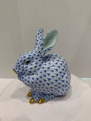 Herend Figurines Fishnet Bunny Blue In Perfect Condition Authentic