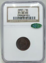 1887 Indian Head Cent Penny Ngc And Cac Certified Pf64 Rb - Toning - Bc912