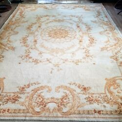Antique Aubusson Handmade Wool Rug 8and039 X 10and039 Golden Elegance Fringed Flat Woven