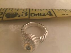Sterling Gold Blue Topaz Cable Ring
