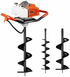 63cc 3.4hp Engine Earth Digger Gas Powered Dig Post Hole With 2 Drill Auger Bits
