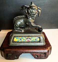Antique Pewter Qing Dynasty Temple Foo Dog With Cloissonne Base Mounted On Wood