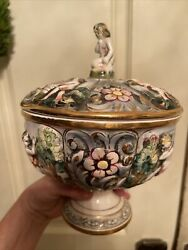 Capodimonte Italy Covered Candy Dish Nude Angels Putti Cherubs Lidded Bowl Flaw