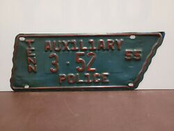1955 Tennessee Auxiliary Police License Plate Tag Odd Map Shape Type
