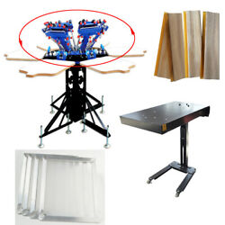 6 Color Screen Printing Kit Micro-adjust Press Printer With Flash Dryer Squeegee