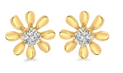 100 Natural 0.07 Ct Sundrop Earrings Crafted In 18k Yellow Gold