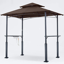 Abccanopy 8and039x 5and039 Grill Gazebo Double Tiered Outdoor Bbq Gazebo Canopy With Led L