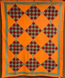 Cheddar C 1880-1890s Pa Checkerboard Quilt Antique Quilted Hearts