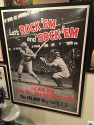 Wwii Poster By Inland Steel Baseball Themed 31x41