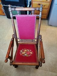 Antique Colonial Revival Platform Rocking Chair Rocker With Tapestry Upholstery