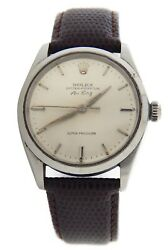 Rolex Air King Mens Stainless Steel Watch Silver Dial Vintage Model 5500