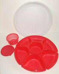 Tupperware Divided Serving Tray Red Lid Dip Bowl 4 pc Complete Set Appetizers