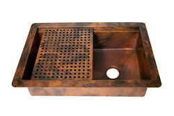 33x22 Drop-in Single Bowl Hammered Copper Kitchen Sink W/ Sliding Grill