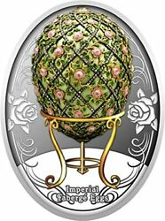 Rose Trellis Egg Imperial Faberge Eggs Proof Silver Coin 1 Niue 2020