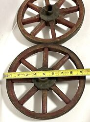 """Two 9.5"""" Antique Wooden 8 Spoke Toy Wagon Wheels Original Red Paint"""