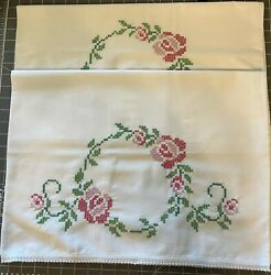 Finished Embroidered Cross Stitch Pillowcases - Roses - Never Used