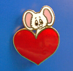 Hallmark Pin Valentines Vintage Mouse Over Heart Cloisonne Holiday Very Rare