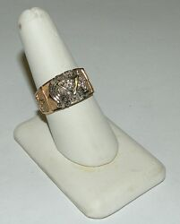 14k Yellow And White With Diamond Gold Masonic Ring Size 10 And Weight 9 Gr Lot106
