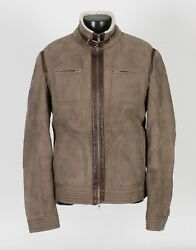 7995 - Brunello Cucinelli Suede Leather Shearling Bomber Jacket Coat - Xl