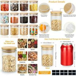 Glass Spice Jars Set 12 Set 5.3oz Glass Jars With Wood Lids Silicon Ring Air T