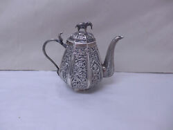 Vintage Indian Silver Teapot With Elephant And Cobra Kutch