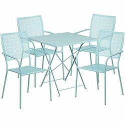 Flash Furniture 28 Sky Steel Folding Table Set With 4 Square Back Chairs New