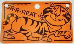 Kelloggs Frosted Flakes 1973 Tony The Tiger Bicycle License Plate Cereal Premium