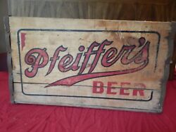 Rare Vintage Pfeifferand039s Beer Wooden Shipping Crate Box 1940s Detroit Mi Brewery