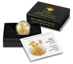 2021-w American Eagle Gold Proof One-half Ounce Coin 21ecn Type 2