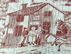 Early Pictorial 1800s Toile Quilt Antique People Tavern Horses New England