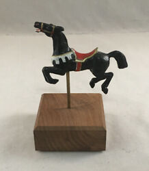 Vintage Betty Carrie Diecast Miniature Carousel Animal Leaping Black Horse