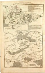 .super Rare 1817 Copperplate Engraved Map. Plan Of The Battle Of Waterloo 1815