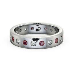 Solid 950 Platinum 0.66 Carat Charming Ruby And Diamond Engagement Band Size 4 5 6