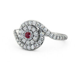 0.70 Ct Luxurious Red Ruby And Diamond Anniversary Ring 950 Platinum Size 4 5 6 7