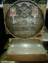Vintage Budweiser Keg Barrel Taps With 2 Bowtie Handles Wall Mount+ Drip Tray
