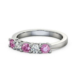 Solid 950 Platinum 0.66 Ct Pink Sapphire And Diamond Anniversary Band Size 4 5 6 7