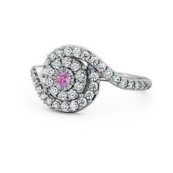 Solid 950 Platinum 0.70 Ct Pink Sapphire And Diamond Anniversary Ring Size 4 5 6 7