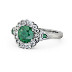 1.55 Ct Luxurious Emerald And Diamond Wedding Ring Solid 950 Platinum Size 4 5 6 7
