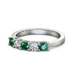 Fanciable 0.66 Ct Emerald And Diamond Wedding Band Solid 950 Platinum Size 4 5 6 7
