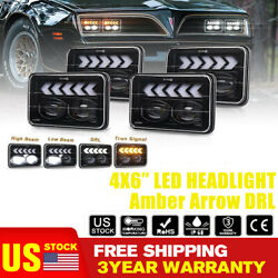 4pc 4x6and039and039 Drl Led Headlight W/amber Arrow For Peterbilt Kenworth Chevrolet Truck