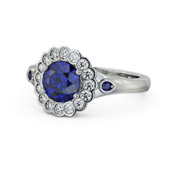 Solid 950 Platinum 1.69 Ct Luxurious Sapphire And Diamond Wedding Ring Size 4 5 6