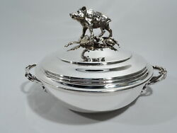 Antique Serving Bowl - Covered Dish W/ Boar Hunt Finial - French 950 Silver
