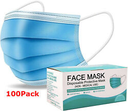 50 / 100 Pcs Comfort Soft Blue Face Mask Mouth And Nose Protector Respirator Masks