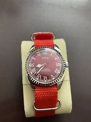 Oris Red Dial Vintage 17 Jewels Hand-winding Menandrsquos Watch