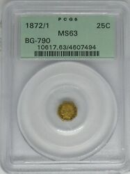 1872/1 Uncirculated California Fractional 25c Gold Coin Bg-790 Pcgs Ms63