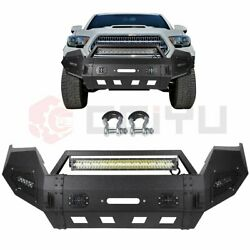 5/32 Heavy Duty Steel Front Bumper W 144w Led Light Bar For Toyota Tacoma 16-19